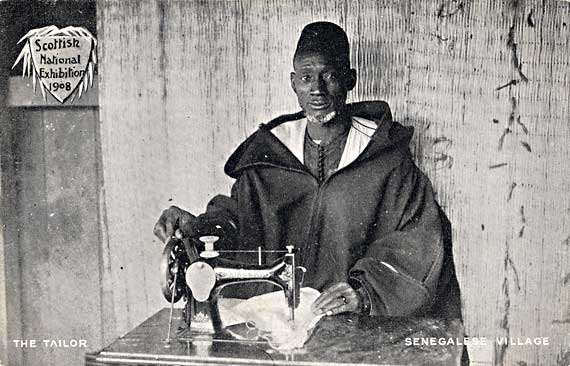 Postcard by John A McCulloch, Edinburgh  -  The Tailor in the Senegalese Village at the Scottish National Exhibition, 1908
