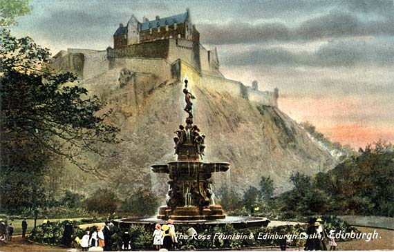 The Ross Fountain in Princes Street Gardens  -  Coloured Postcard  -  PPC Philco Series