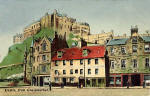 P&WM Vello Series postcards  -  Edinburgh Castle from the Grassmarket