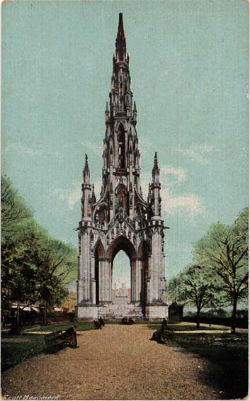 Postcard  -  Charles L Reis & Co  -  The Scott Monument in East Princes Street Gardens