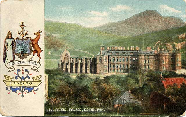 Postcard published by S Hildesheimer  -  Holyrood Palace and Edinburgh Coat of Arms