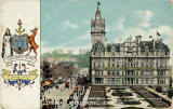 Postcard published by S Hildesheimer  -  Princes Street Showing the North British Hotel and Edinburgh Coat of Arms