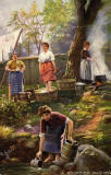 Raphael Tuck 'Oilette' postcard  -  A Scottish Washing