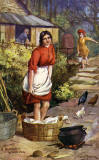 Raphael Tuck Postcard  -   'Oilette', Scottish Life and Character series  -  A Highland Washing