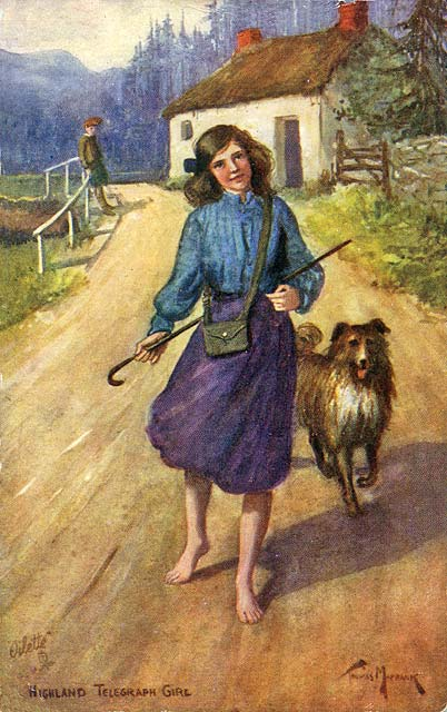 Raphael Tuck Postcard  -   'Oilette', Scottish Life and Character series  -  Highland Telegraph Girl