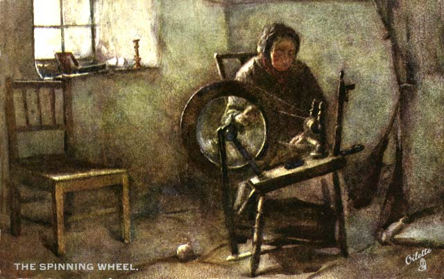 Raphael Tuck Postcard  -   'Oilette', Scottish Life and Character series  -  The Spinning Wheel