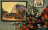 "Raphael Tuck ""Oilette"" postcard  -  Edinburgh Castle, tartan bow and lucky white heather"