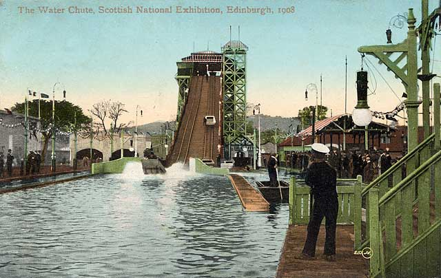 "A Valentine ""Souvenir Postcard Series "" postcard of the Water Chute at the Scottish National Exhibition, Edinburgh, 1908"