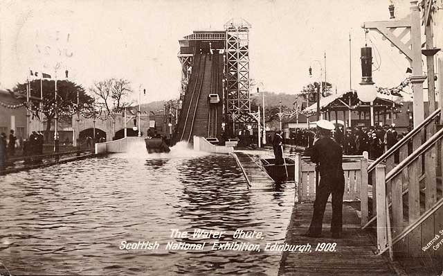 "A Valentine ""XL Real Photograph"" postcard of the Water Chute at the Scottish National Exhibition, Edinburgh, 1908"