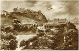 Valentine Postcard  -  Edinburgh Castle and the National Galleries  -  1923  -  Photogravure