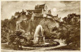 Valentine Postcard  -  Edinburgh Castle and the Ross Fountain in Princes Street Gardens  -  1923  -  Photogravure