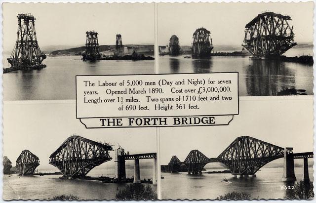 Valentine's Postcard - The Forth Bridge under Construction