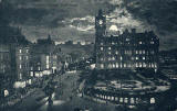 Valentine's Postcard  -  Moonlight Series  -  The East End of Princes Street and the North British Hotel  -  black + white