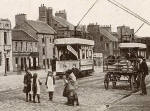 Postcard by Valentine  -   Zoom-in to detail on a postcard of Musselburgh High Street and Mercat Cross, 1905