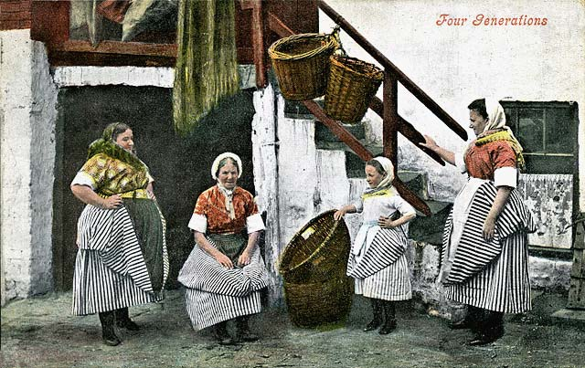Four generations of Newhaven Fishwives -  A  Valentine postcard in colour