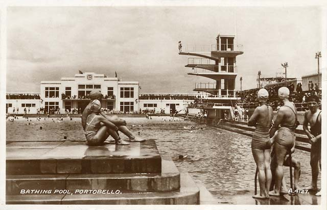 Portobello bathing pool valentine postcard for Portobello outdoor swimming pool