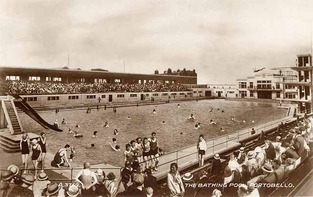 Portobello Bathing Pool Valentine Postcard 1936