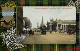 Postcard by Valentine  -  Looking to the east along Princes Street from Frederick Street  -  coloured  -  back of blue car  -  with Hunting Stewart tartan surround car