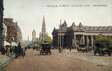 Postcard by Valentine  -  Looking to the east along Princes Street from Frederick Street  -  coloured  -  back of red car