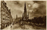 Valentine Postcard  -  View to the east along Princes Street, from the foot of the Mound  -  1923  -  Photogravure