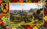 Valentine Postcard  -  Tartan Border  -  Buchanan  -  Edinburgh from the Castle