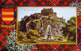 Valentine Postcard  -  Tartan Border  - Cameron  -  Edinburgh Castle and Ross Fountain