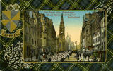 Valentine Postcard  -  Tartan Border  -  Campbell  -  The Royal Mile (Black Watch passing the Netherbow)