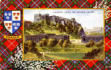 Valentine Postcard  -  Tartan Border  -  Fraser  -   Edinburgh Castle and National Gallery