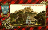 Valentine Postcard  -  Tartan Border  -  Fraser  -  Edinburgh Castle and Ross Fountain