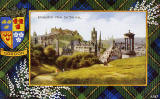 Valentine Postcard  -  Tartan Border  -  Gordon  -   Edinburgh Castle from Calton Hill