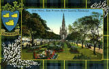 Valentine Postcard  -  Tartan Border  -  Gordon  -  The Scott Monument, East Princes Street Gardens