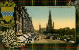 Valentine Postcard  -  Tartan Border  -  Hunting Stewart  -  Princes Street, Looking East