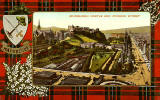 Valentine Postcard  -  Tartan Border  -  MacGregor -  Edinburgh Castle and Princes Street