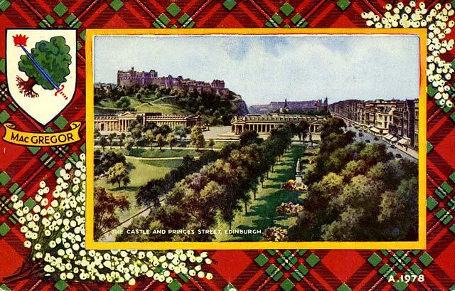 Valentine Postcard - Tartan Border - MacGregor - Edinburgh Castle and ...