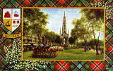 Valentine Postcard  -  Tartan Border  -  MacLean  -  Princes Street Gardens and Scott Monument