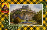 Valentine Postcard  -  Tartan Border  -  MacLeod  -  Edinburgh Castle and Ross Fountain