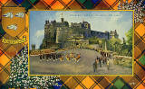 Valentine Postcard  -  Tartan Border  -  Robertson  -  Edinburgh Castle, Changing the Guard  -  orange border