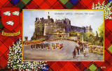Valentine Postcard  -  Tartan Border  -  Robertson  -  Edinburgh Castle, Changing the Guard  -  red border