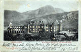 Postcard published by WH, Berlin, with many small cut-out windows and moon, to be held up to the light   -  Holyrood Palace and Arthur's Seat