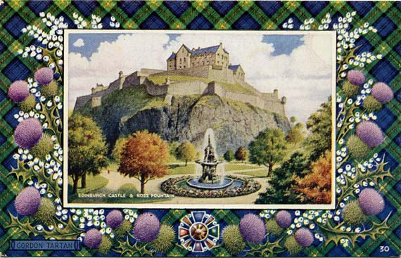 "Postcard in the ""Best of All"" series by J B White, Dundee  -  Edinburgh Castle and the Ross Fountain  -  Gordon tartan border"