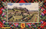 "Postcard in the ""Best of All"" series by J B White of Dundee  -  Edinburgh Castle and the National Gallery of Scotland  -  framed in a Royal Stewart tartan border"