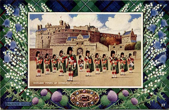 "Postcard in the ""Best of All"" series by J B White Ltd, Dundee  -  Castle and Pipers  -  framed in a MacKenzie tartan border"