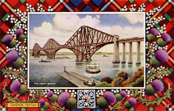 "Postcard in teh ""Best of All"" series by J B White, Dundee  -  The Forth Bridge  -  Framed in a Cameron tartan"
