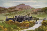 JB White - A coloured postcard  -  Holyrood Palace and Abbey