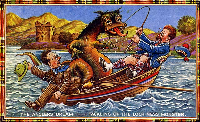J B White postcard  -  Loch Ness Monster and a car