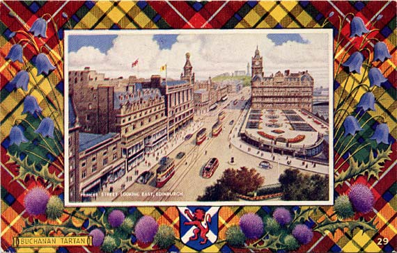 "Postcard in the ""Best of All"" series by J B White Ltd, Dundee  -  Princes Street looking east towards the North British Hotel  -  framed by a Buchanan tartan"