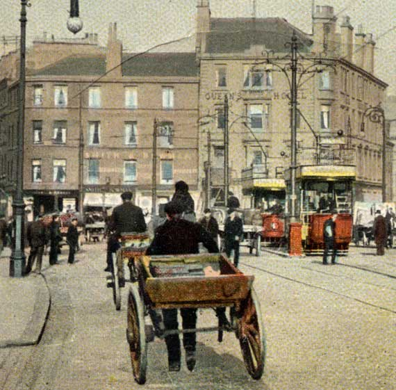 Detail from a W R & S Series postcard  -  The Foot of Leith Walk