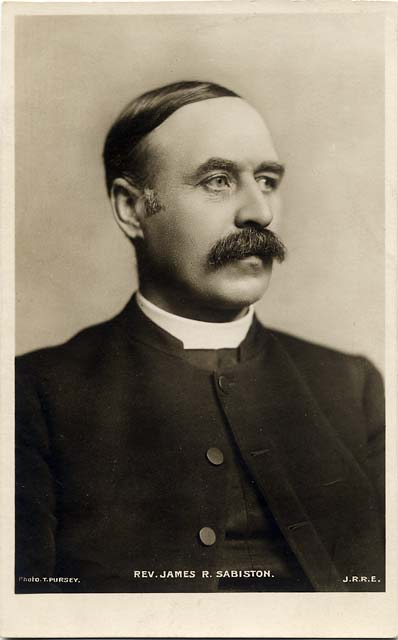 John R Russell:  A postcard portrait of Rev James R Sabisoton, taken by T Pursey