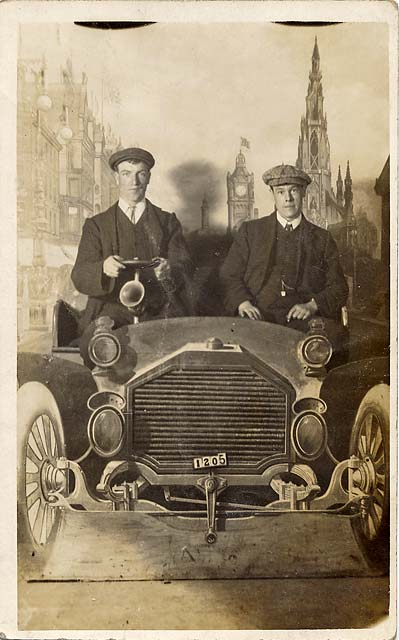 Postcard portrait with a studio car and backdrop by Claude Low