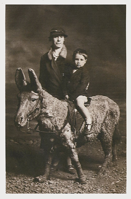 Photo from the studio of Robert McLelland  -  Grandfather and Uncle on  a Stuffed Donkey